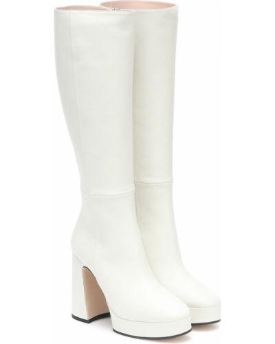 Biały buty na platformie z prawdziwej skóry w połowie kolana na platformie Gucci