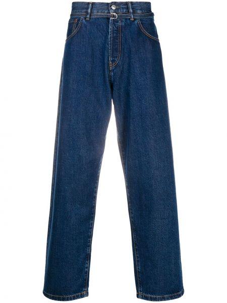Bawełna z wysokim stanem niebieski jeansy na wysokości z kieszeniami Acne Studios