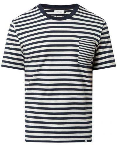 Niebieski t-shirt bawełniany w paski Nowadays
