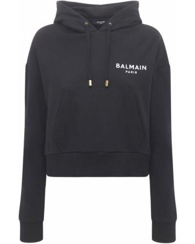Укороченное худи - черное Balmain