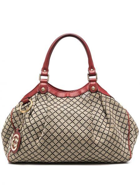 Кожаная сумка-тоут на молнии с подвесками с карманами Gucci Pre-owned