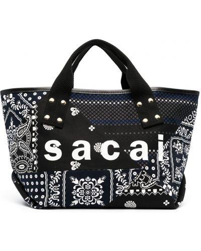 Czarna torba na ramię skórzana z printem Sacai