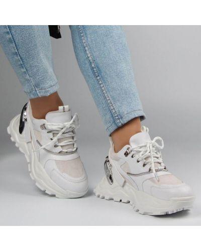 Кожаные кроссовки - белые Deenoor