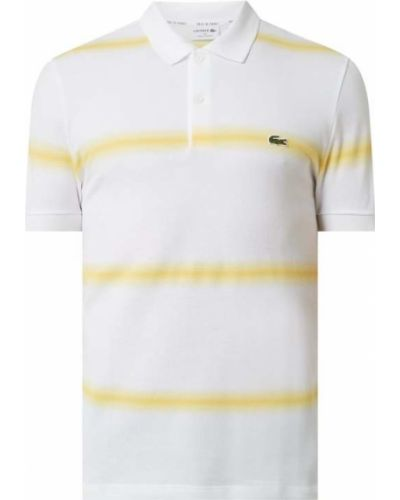 Żółty t-shirt w paski bawełniany Lacoste