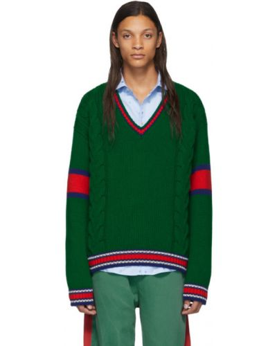 Шерстяной белый длинный свитер с воротником Gucci