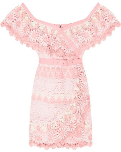 Платье мини с цветочным принтом с поясом Self-portrait