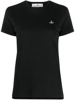 С рукавами черная футболка с вырезом Vivienne Westwood
