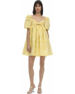 Żółta sukienka mini krótki rękaw bawełniana Pushbutton