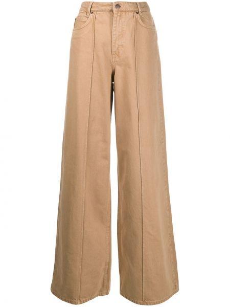 Расклешенные коричневые с завышенной талией широкие джинсы Victoria, Victoria Beckham