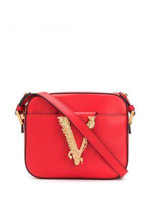 Skórzany torba z logo z kieszeniami Versace