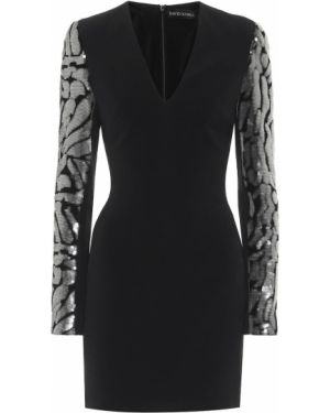Черное платье мини с пайетками из вискозы David Koma