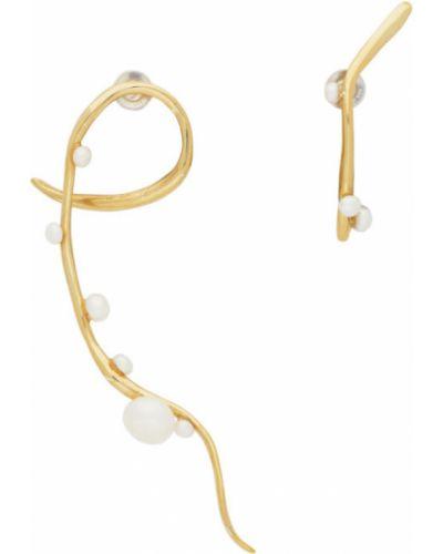 Асимметричные серьги-гвоздики золотые с жемчугом Faris