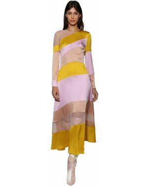 Шелковое розовое платье миди с декольте с капюшоном Ralph & Russo