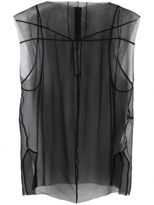 Czarna bluzka z siateczką bez rękawów Rick Owens