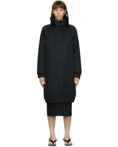 Стеганое пуховое черное длинное пальто Pleats Please Issey Miyake