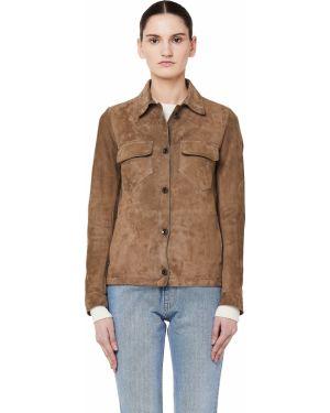 Кожаная куртка на пуговицах - бежевая Salvatore Santoro