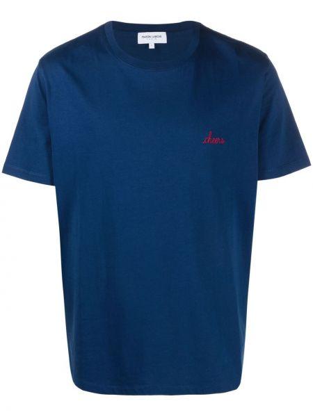 Niebieski t-shirt bawełniany krótki rękaw Maison Labiche