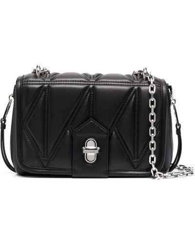 Стеганая черная кожаная косметичка Karl Lagerfeld