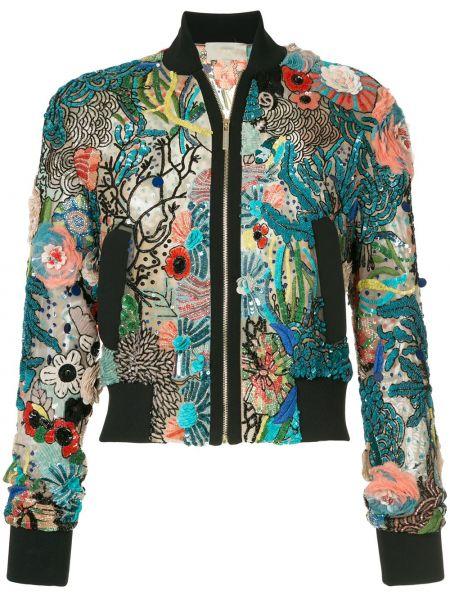 Синяя куртка с воротником из вискозы Elie Saab