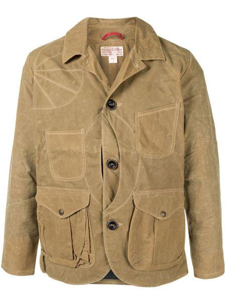 Klasyczna brązowa długa kurtka bawełniana Filson
