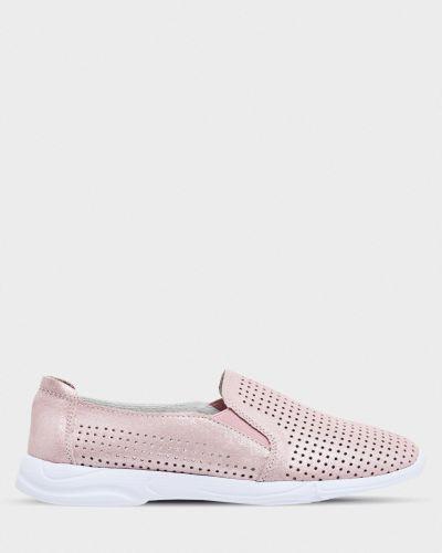 Кожаные слипоны - розовые Gunter