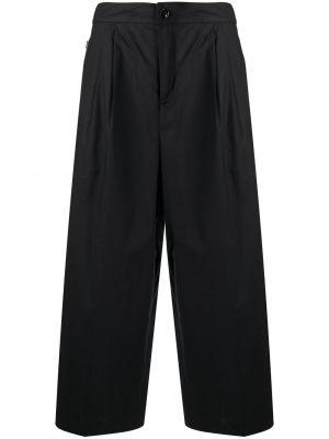 Хлопковые черные укороченные брюки свободного кроя Woolrich
