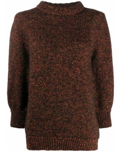 Шелковый коричневый джемпер в рубчик с круглым вырезом Anine Bing