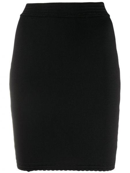 Черная с завышенной талией юбка мини из вискозы эластичная Alaïa Pre-owned