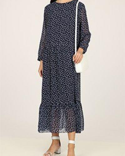 Платье из вискозы - синее Poustovit