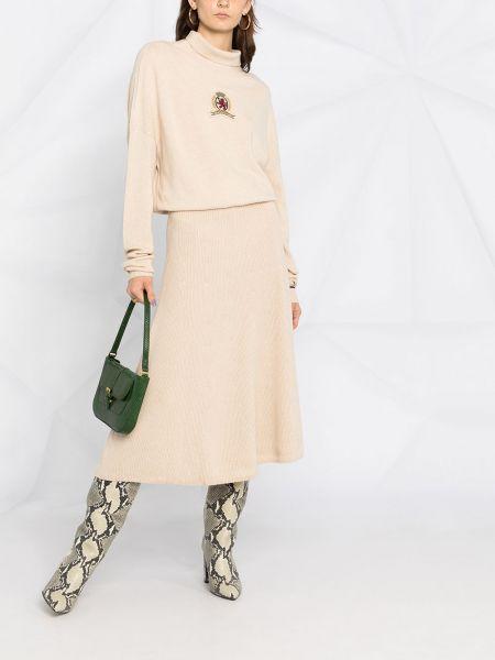 Кашемировое платье миди с воротником с вырезом с нашивками Hilfiger Collection