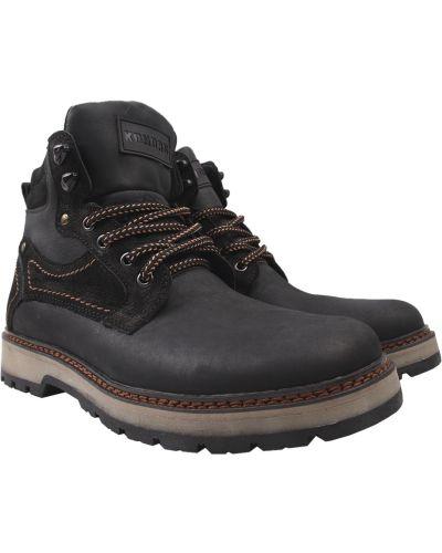 Ботинки из нубука - черные Konors