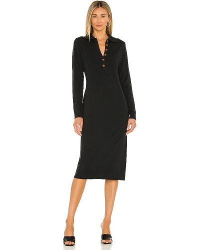 Трикотажное платье миди - черное 525