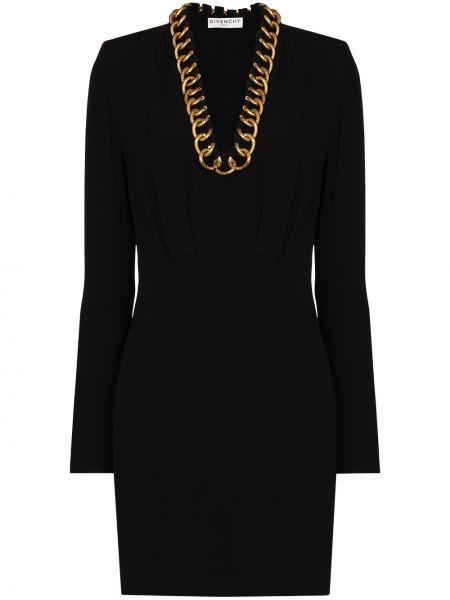 Jedwab czarny sukienka mini z długimi rękawami Givenchy