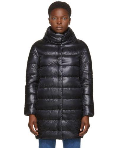 Стеганое пуховое черное длинное пальто Herno