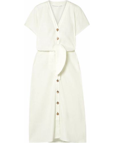 Льняное белое платье миди Veronica Beard