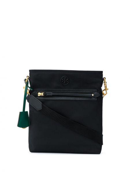 Черная стеганая нейлоновая кожаная сумка прямоугольная Tory Burch
