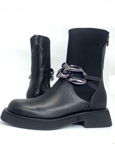 Кожаные ботинки - черные Evromoda