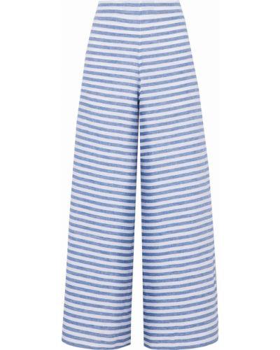 Льняные синие брюки в полоску Sleepy Jones