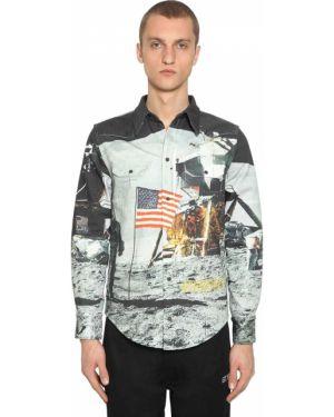 Czarna koszula bawełniana z printem Calvin Klein Established 1978