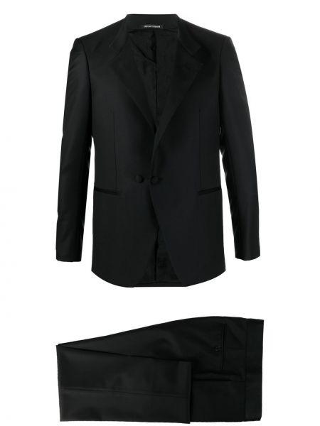 Czarny garnitur wełniany zapinane na guziki Emporio Armani