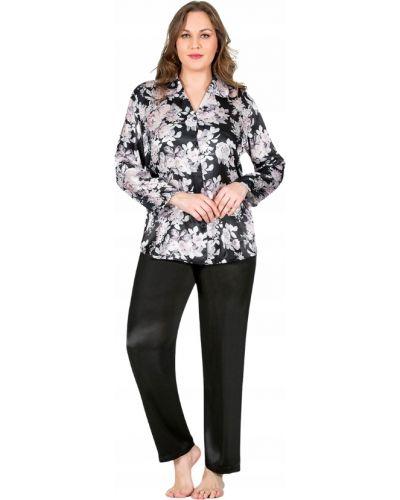 Piżama satyna czarny piżama z długimi rękawami Victoria's Secret