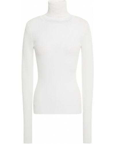 Prążkowany biały sweter z haftem Remain Birger Christensen