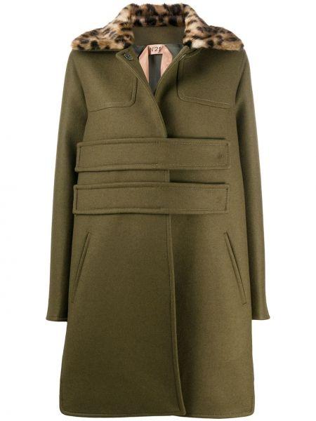 С рукавами зеленое шерстяное пальто с жемчугом N°21