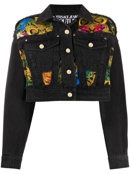 Хлопковая джинсовая куртка - черная Versace Jeans Couture