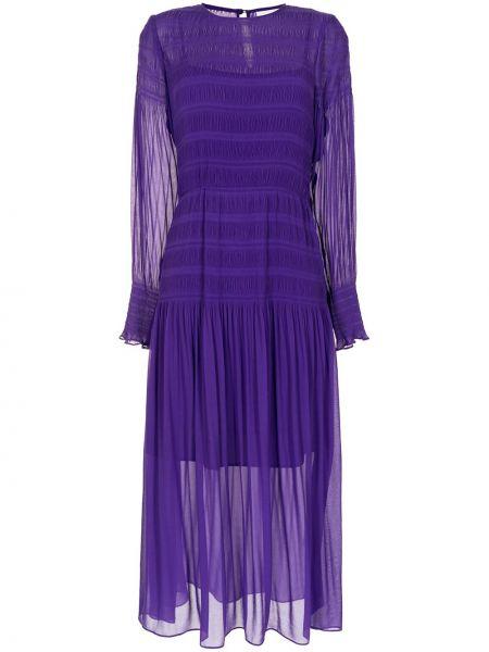 Фиолетовое с рукавами платье миди с поясом Ginger & Smart