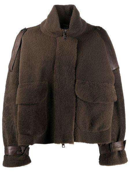 С рукавами черная длинная куртка с карманами из овчины Giorgio Brato