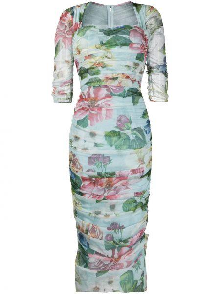 Прямое приталенное платье мини прозрачное с вырезом Dolce & Gabbana
