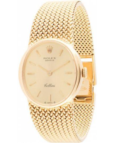 Золотистые часы механические золотые круглые Rolex