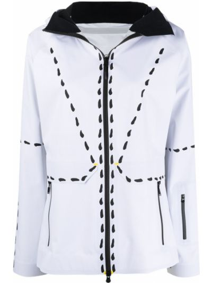 С рукавами белая длинная куртка мембранная Rossignol