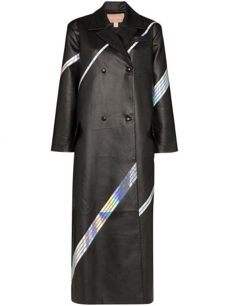 Черное длинное пальто с капюшоном на пуговицах Matériel